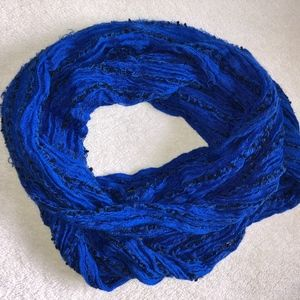 Starring at Stars Blue Open Weave Infinity Scarf